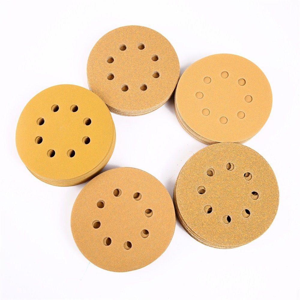 100Pcs 5 Inch 8 Hole 150 Grit Dustless Hook-and-Loop Sanding Disc Sander Paper