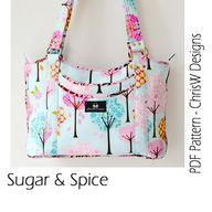 Purse Pattern PDF for Sewing a handbag, Designer bag with optional piping, Floral or plain fabric, make it yourself how you like it