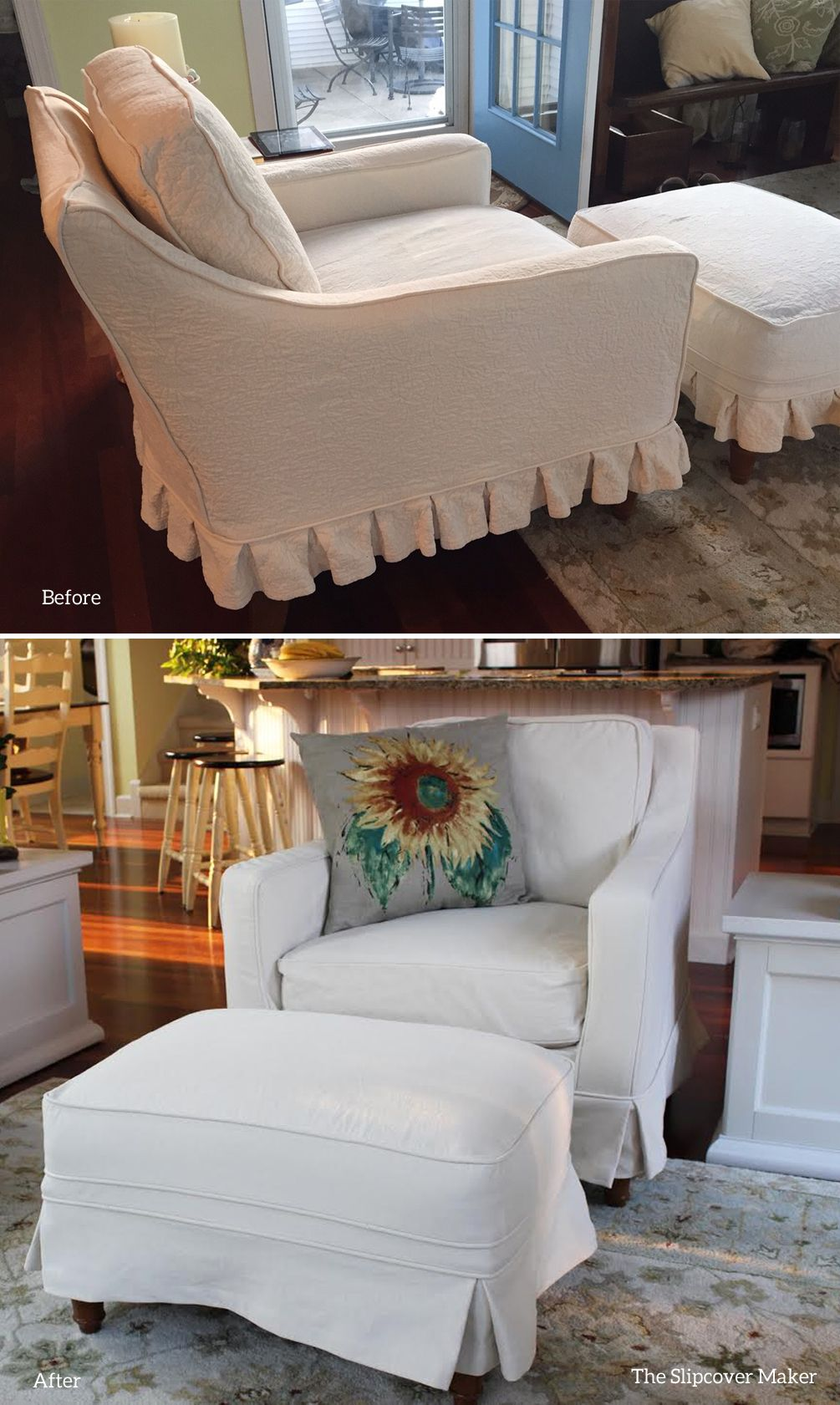 Old matelasse chair and ottoman covers used as a pattern to make these new natural denim slipcovers
