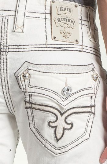 New Rock Revival White Dan Straight leg jean size 42 RJ8860TS #RockRevival #ClassicStraightLeg