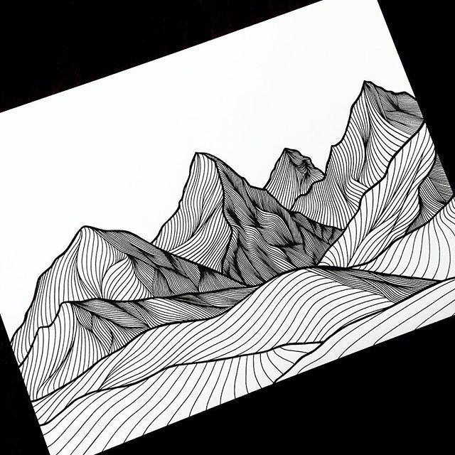 Berge und Linien in Tinte. - #ink #lines #mountains#berge #ink #lines #linien #mountains #tinte #und