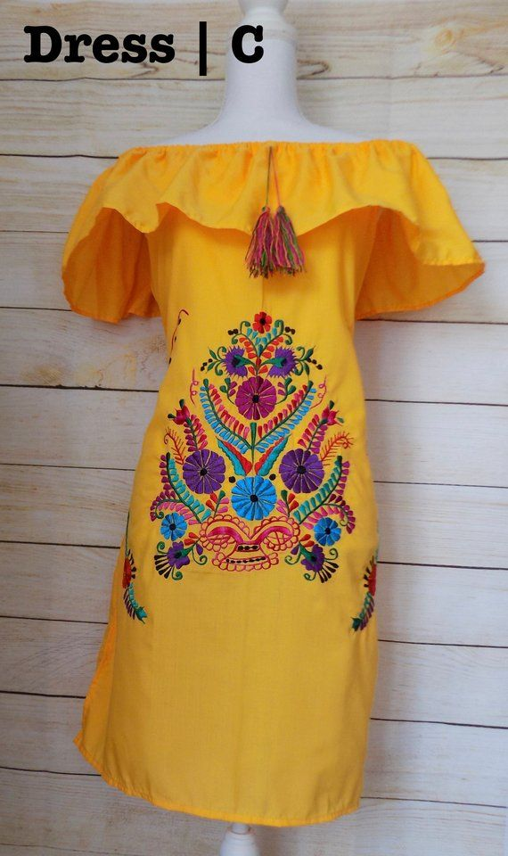 Campesino Yellow Mexican Dress