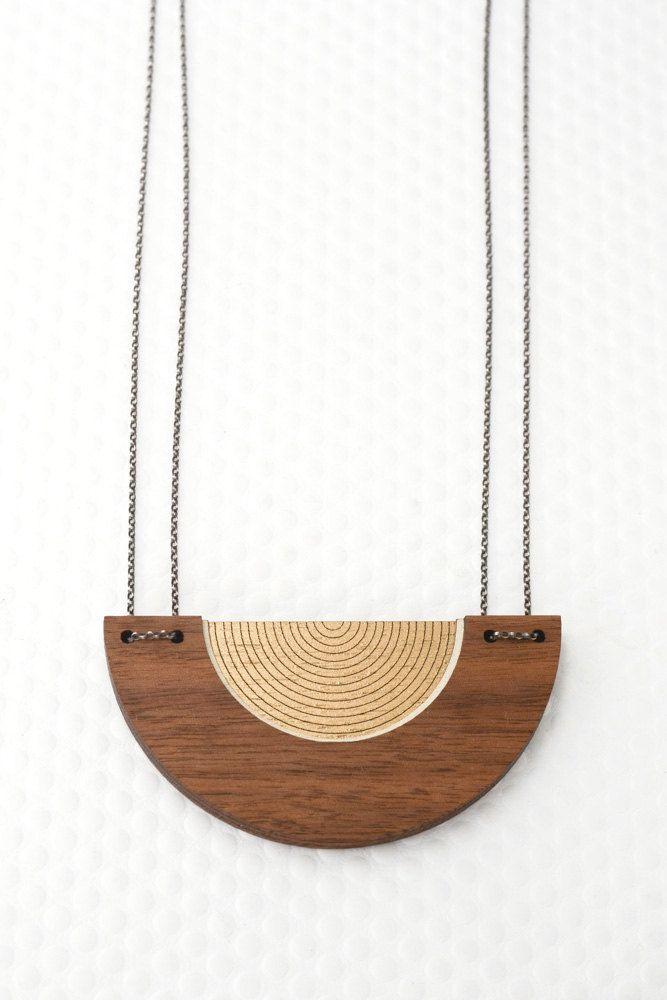 Bauhaus Circle Necklace Hand Painted Wood Minimalist