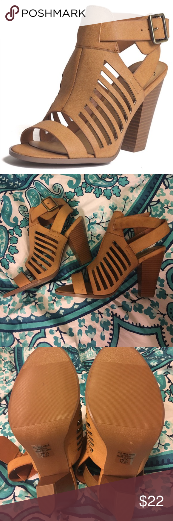 Tan heel sandals Very cute perfect for spring/summer. Never worn, in perfect condition! Shoes Heels