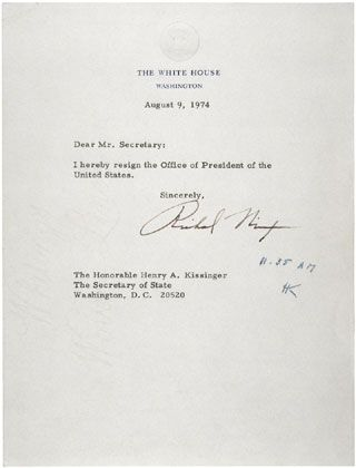 Following the revelations stemming from the investigation of the - nixon resignation letter
