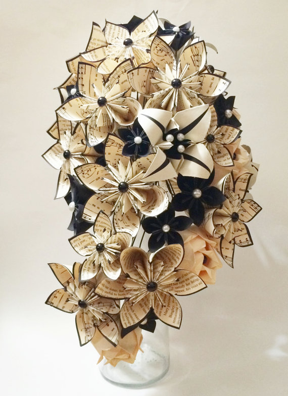 Cascading Bouquet- Paper Bouquet, one of a kind origami, Bridal bouquet, kusudama, paper roses ...