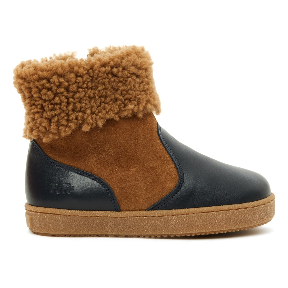 Two-fabric Fur Lined Boots Navy blue