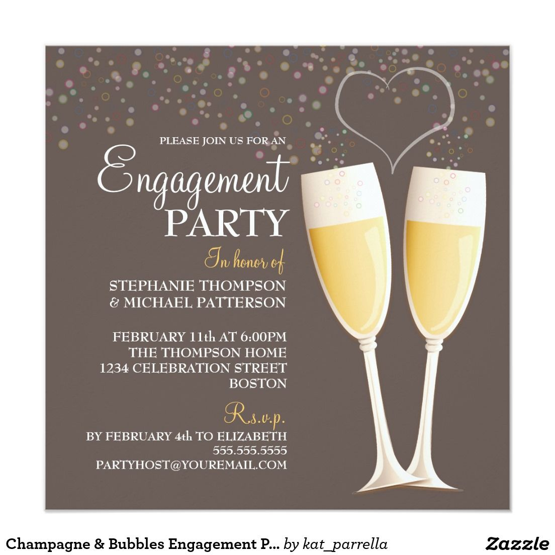 Champagne & Bubbles Engagement Party Invitation   Wedding ...