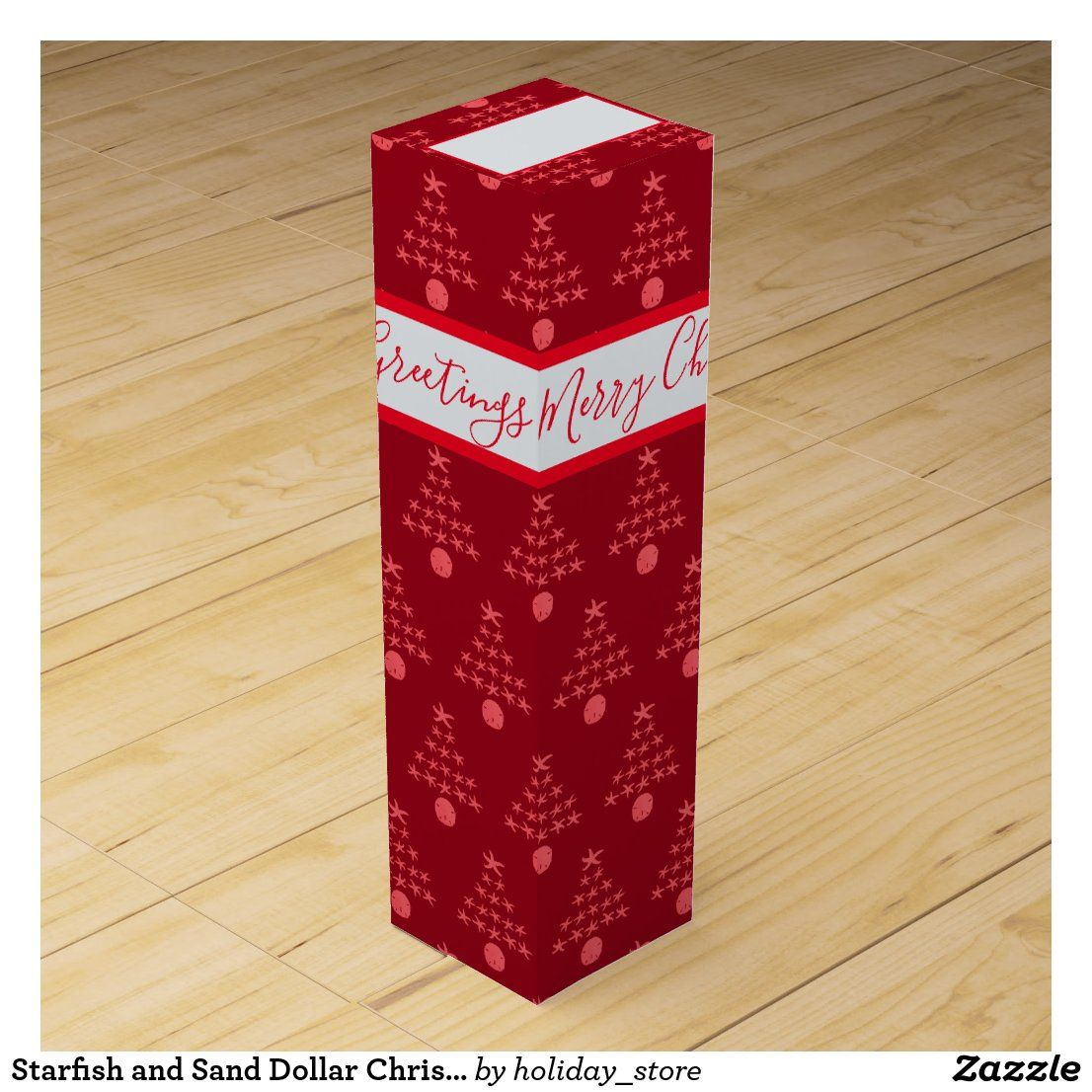 Starfish And Sand Dollar Christmas Trees Pattern Wine Box Zazzle Com In 2020 Custom Wine Box Christmas Tree Pattern Wine Gift Boxes