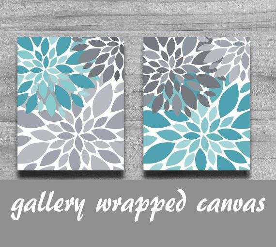 Canvas Turquoise Gray Flower Burst Canvas Set Home Decor Or Nursery Silhouette 8x10 11x14 Wall Art Grey Flowers Turquoise Bathroom Decor