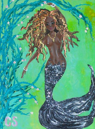 Cschenkart Mermaid Black African 12x16 Native Flower Sea Art