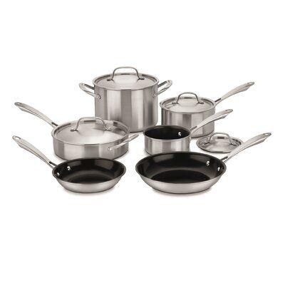Cuisinart Greengourmet 10 Piece Stainless Steel Non Stick Cookware Set Cookware Set Stainless Steel Cookware Set Cookware And Bakeware