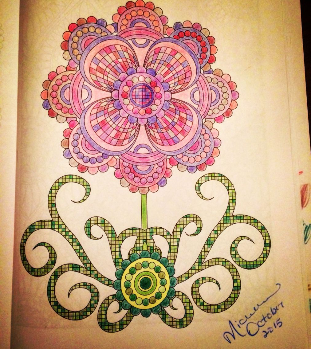 My first adult coloring book image colored by me a page in