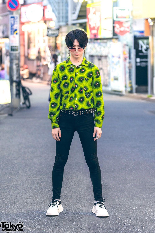 8126f10c9 Harajuku Male Model in Vintage Print Shirt w/ Diesel, Prada, YSL & Vivienne  Westwood