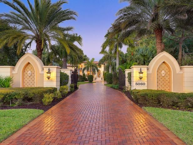 Classic Brick Paver Driveway For Mediterranean Style Home