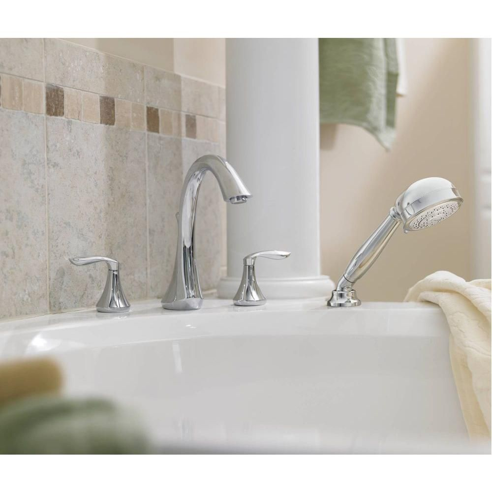 MOEN Eva Handle DeckMount Roman Tub Faucet Trim Kit With Hand - Moen icon bathroom faucet for bathroom decor ideas