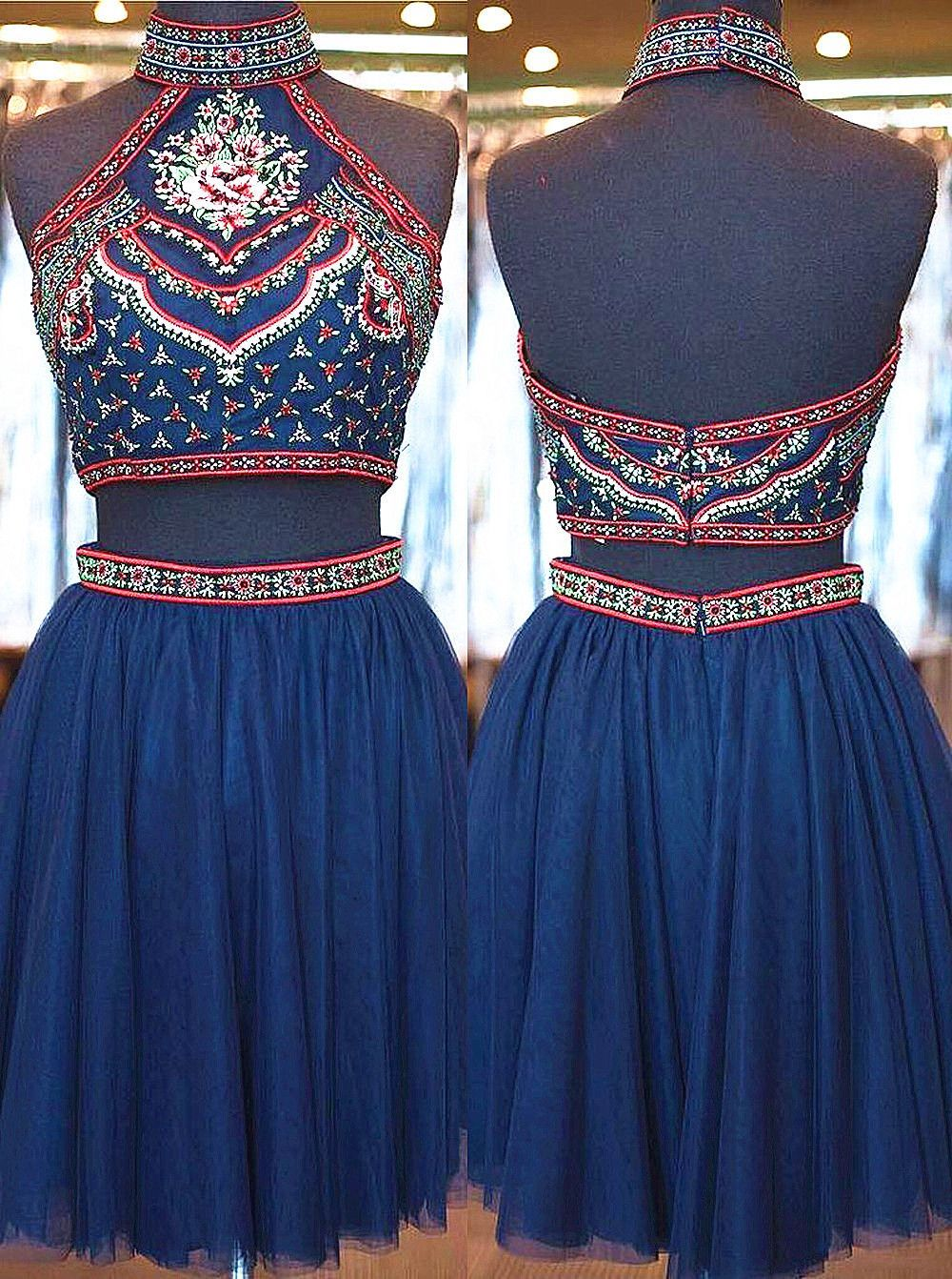 pieces high neck embroidery navy tulle homecoming dresses short
