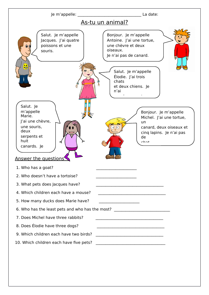 French Animals As Tu Un Animal Worksheets Learn French French Worksheets Teaching French