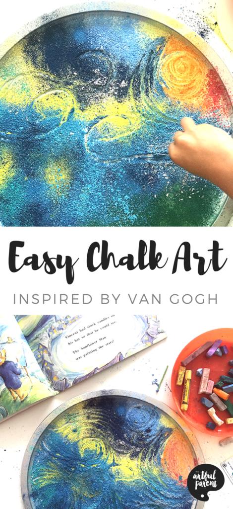 Easy Chalk Art for Kids – Process Art Inspired by Van Gogh