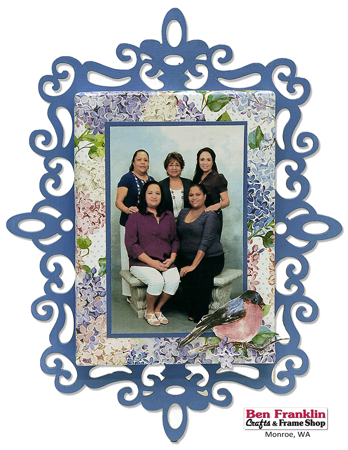 DIY Family Portrait in Scroll Laser Cut Wood Frame Tutorial on our blog: http://benfranklincraftsmonroe.blogspot.com/2016/04/diy-family-portrait-in-scroll-laser-cut.html Great mother's day gift. Mom will love this gift for years to come. Supplies available at our Ben Franklin Crafts, Monroe, WA 360-794-6745
