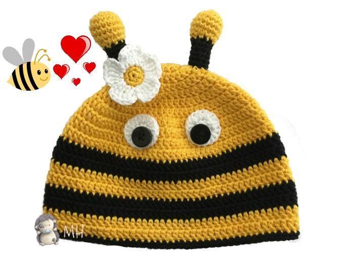 Gorro de abeja a crochet, ¡patrón gratis! | TEJIDOS | Pinterest ...