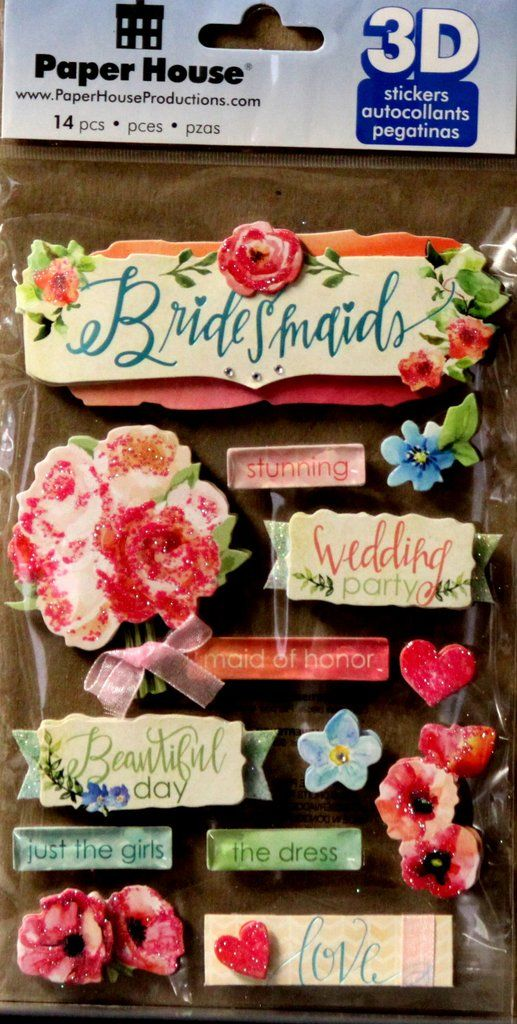 Paper House 3d Dimensional Bridesmaids Stickers Scrapbook Supplies