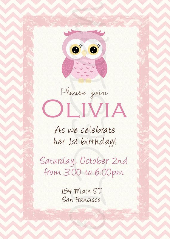 Owl Girl Birthday Invitation Also Great For Baby Showers Custom Digital File