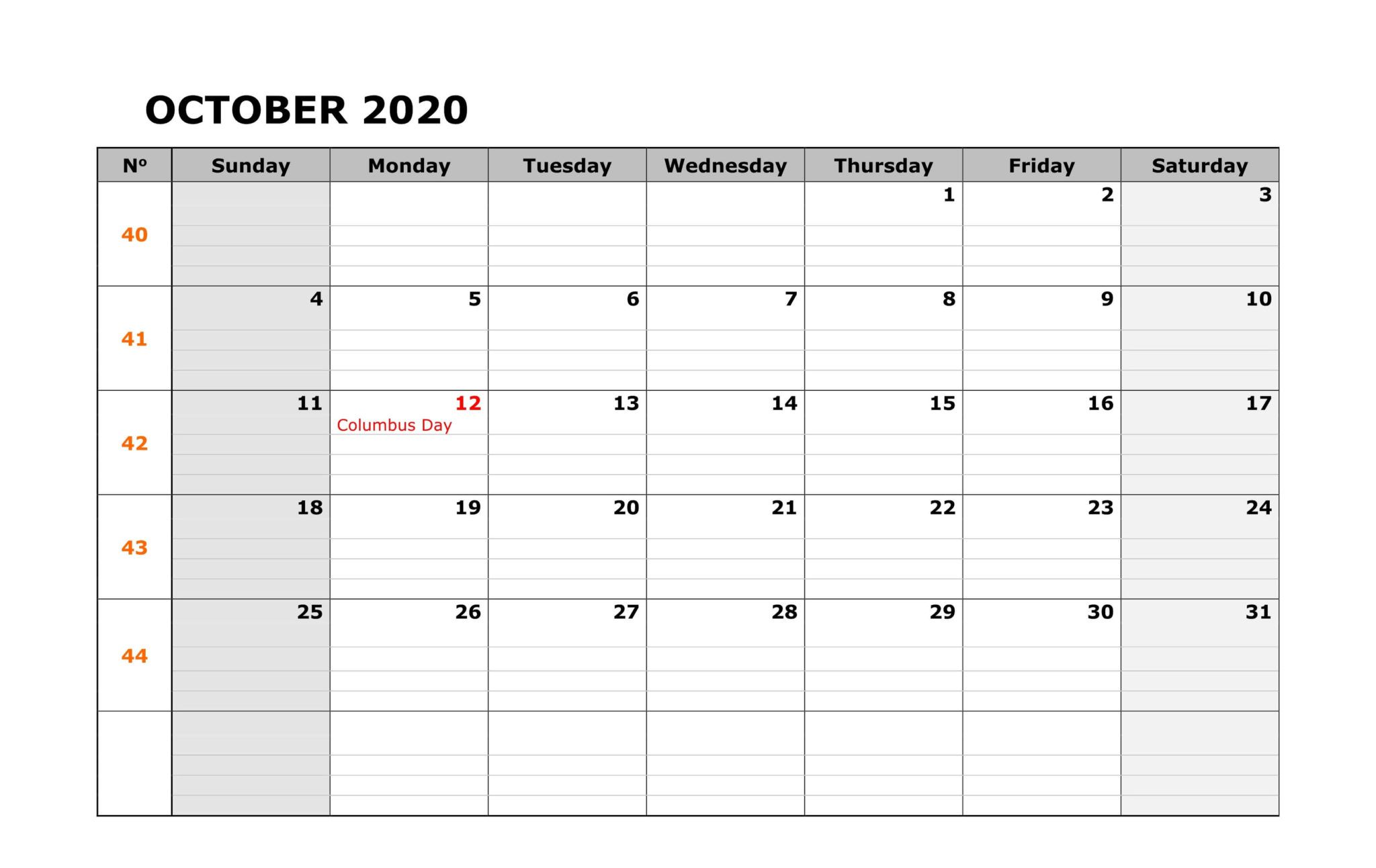 Fillable Calendar For October In