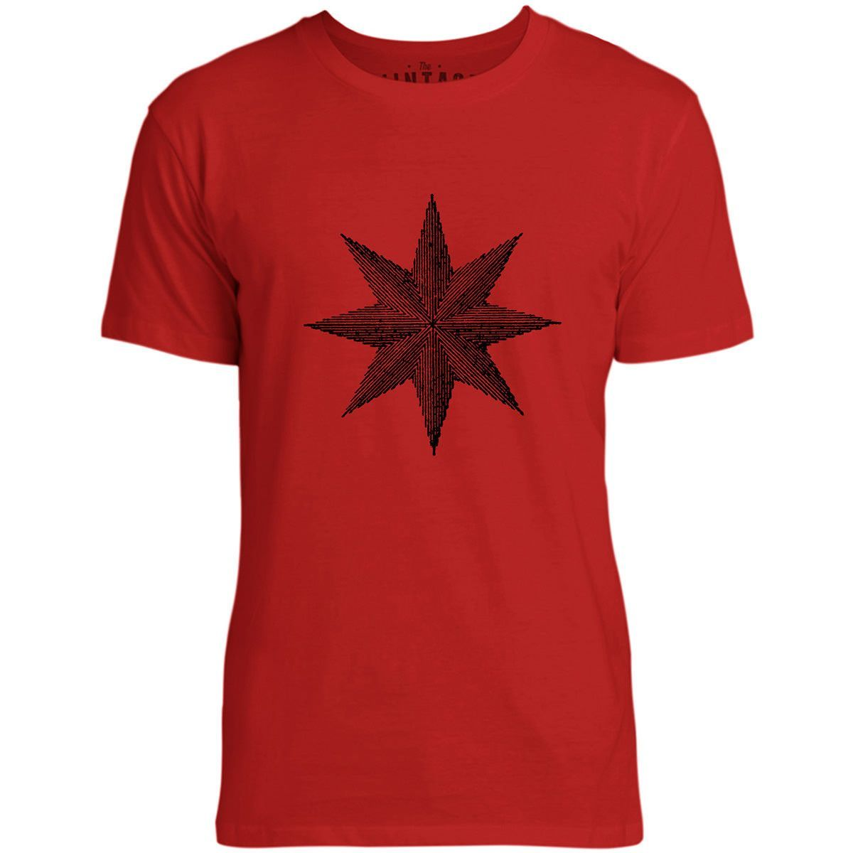 Mintage Eight Pointed Star Mens Fine Jersey T-Shirt (Red)