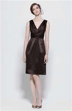 Sheath V-neck Knee-length Sleeveless Ruffles Satin #Bridesmaid #Dress Style Code: 05260 $69