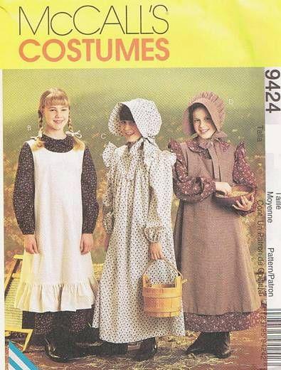 Girls\' Pioneer Dress, Pinafore, Bonnet Costume Pattern 10,12 ...
