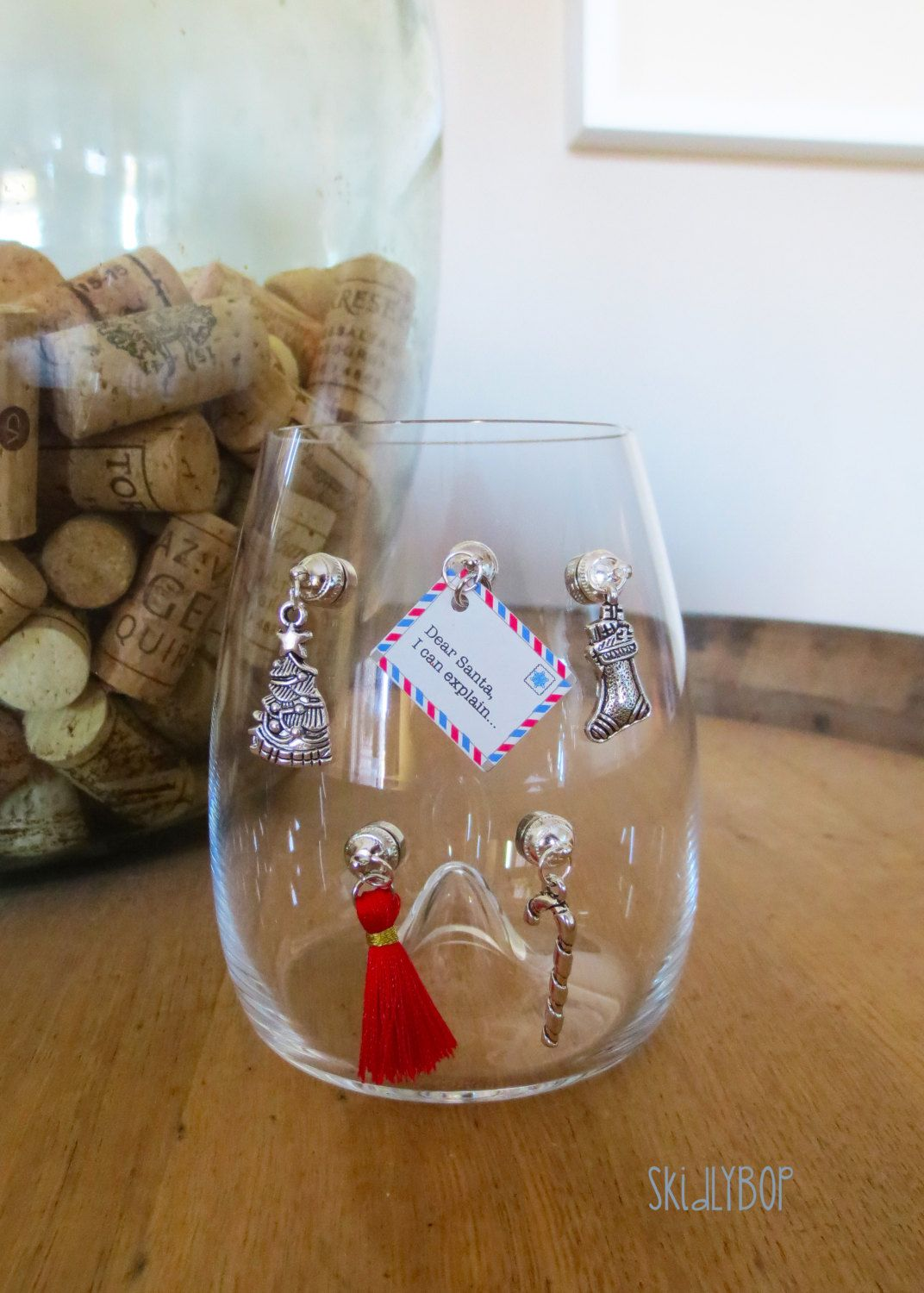 Magnetic Wine Charms Dear Santa I Can Explain Set Of 5 Stemless Glass Drink Marker Christmas Wine Charms Grea Christmas Wine Drink Marker Wine Charms