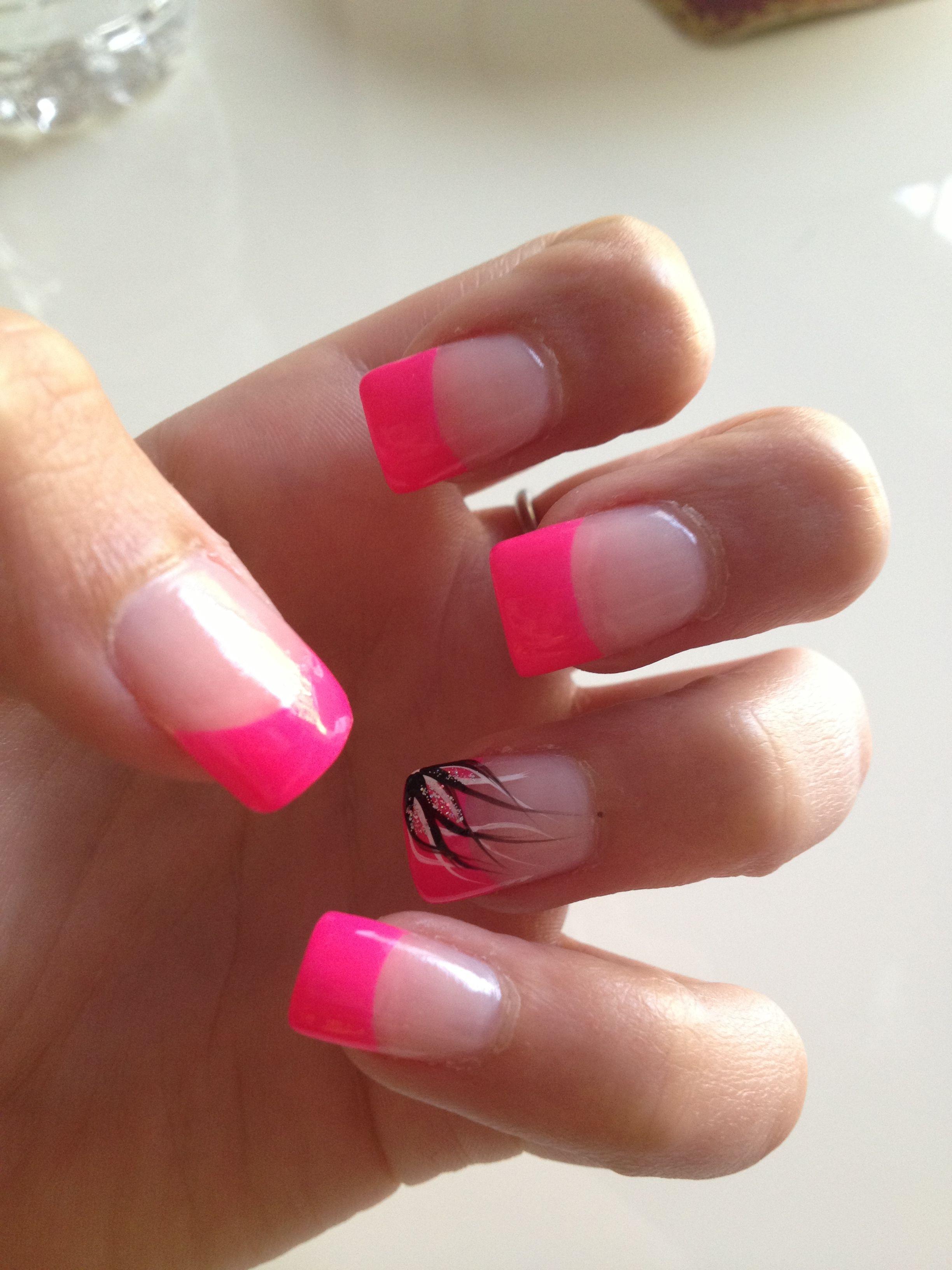 hot pink tip nails - photo #8