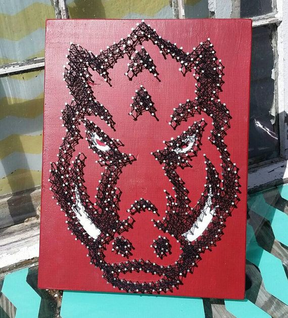 String Art Razorback Nail Art Hog University Of Arkansas