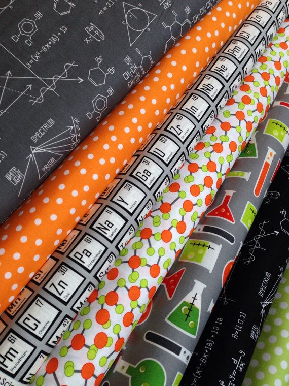 science fair fabric bundle by illustration ink for robert kaufman fabrics 12 yard bundle 7 total - Periodic Table Fabric