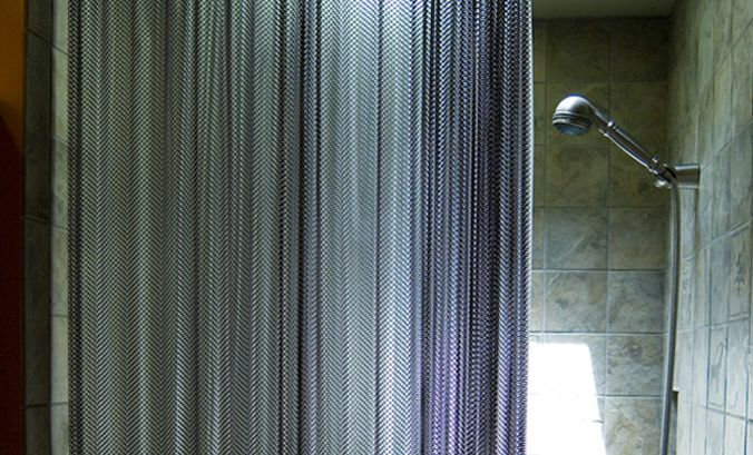 Woven Metal Coil Shower Curtain Chainmail Like Residence In Oakland California
