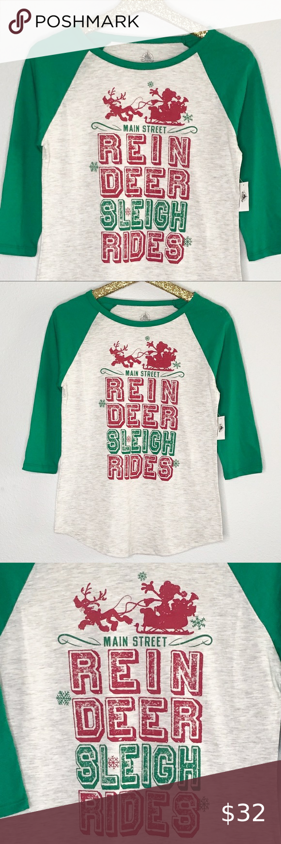 Disney Parks Mickey Mouse Main Street Reindeer Sleigh Rides Adult Shirt L NWT