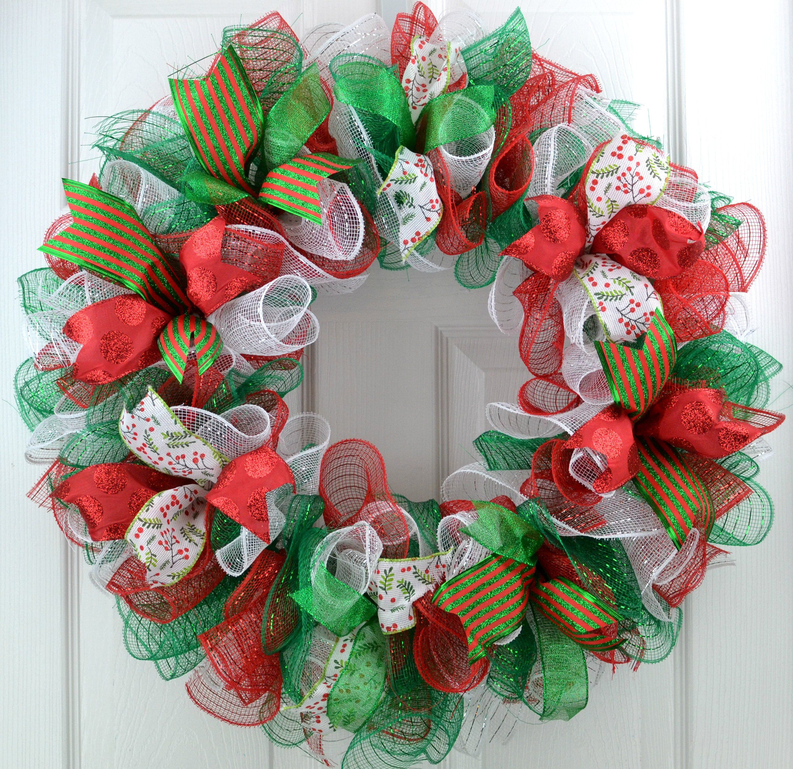 Traditional Red Emerald Green White Mesh Christmas Front Door Wreath