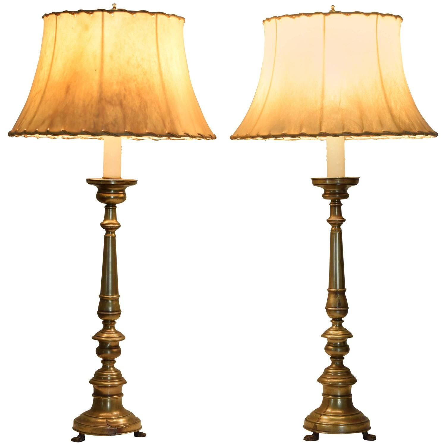 Italian Neoclassical Brass Candlesticks As Table Lamps, Circa 1840