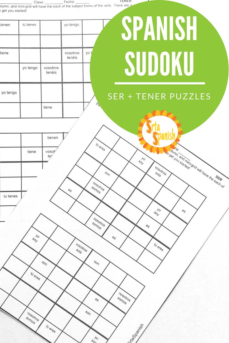 Present Tense Ser And Tener Spanish Sudoku Activity Spanish Teacher Resources Spanish Lesson Plans Teaching Spanish [ 1102 x 735 Pixel ]