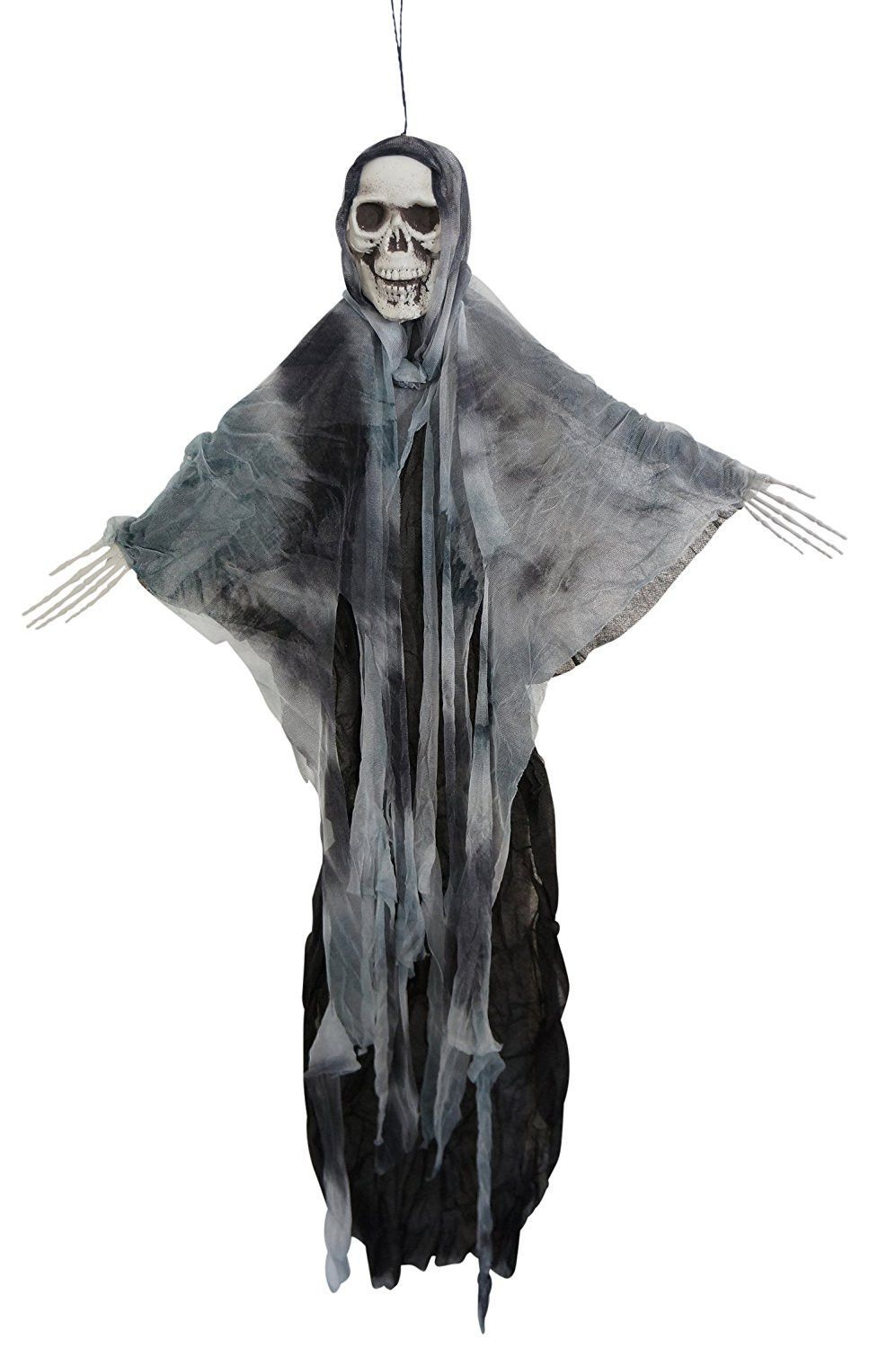 35 Inch Hanging Fabric Poseable Skull Ghost Halloween Decoration - 2 - Ghost Halloween Decorations