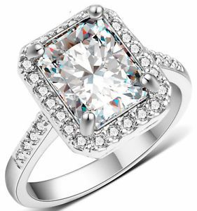 14K White Gold Plated 2 CT AAA CZ Halo Engagement Ring Size 5-10