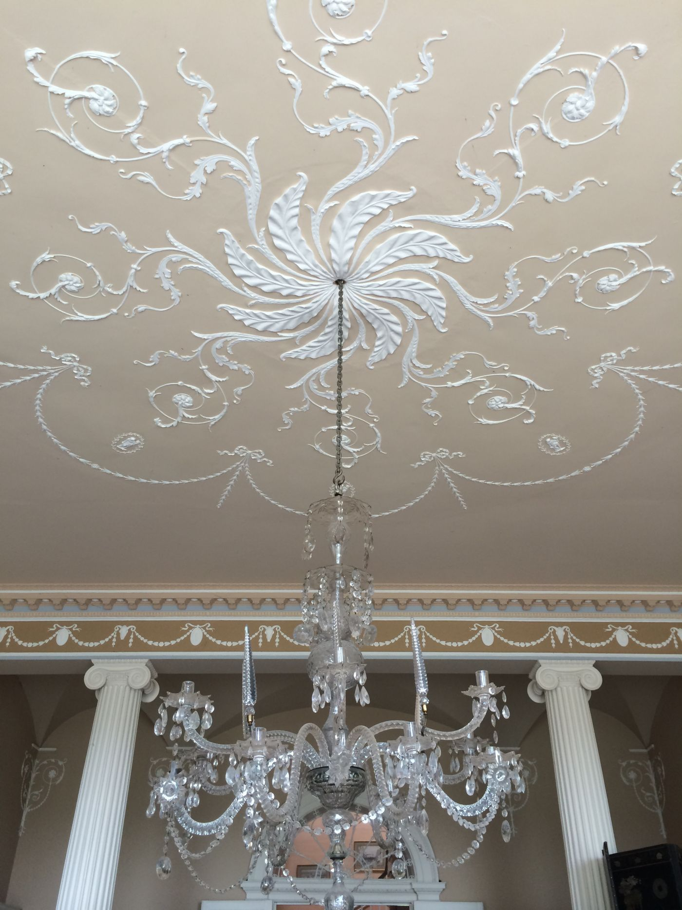 Ceiling of the south hall Cappoquin House Co Waterford Ireland