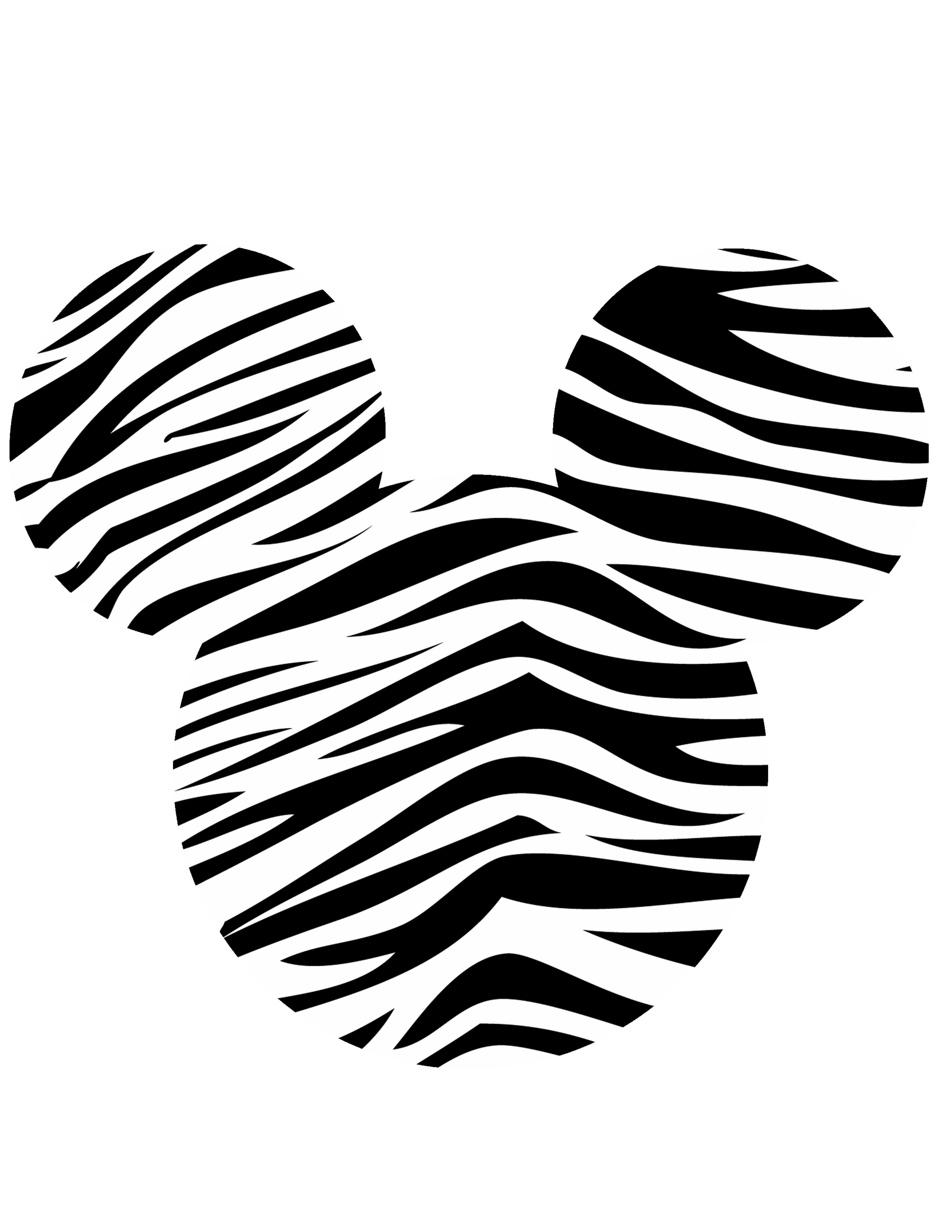Minnie Head Zebra Black White