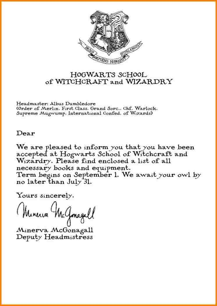 Hogwarts Acceptance Letter  Quote Templates  Monkey Birthdays