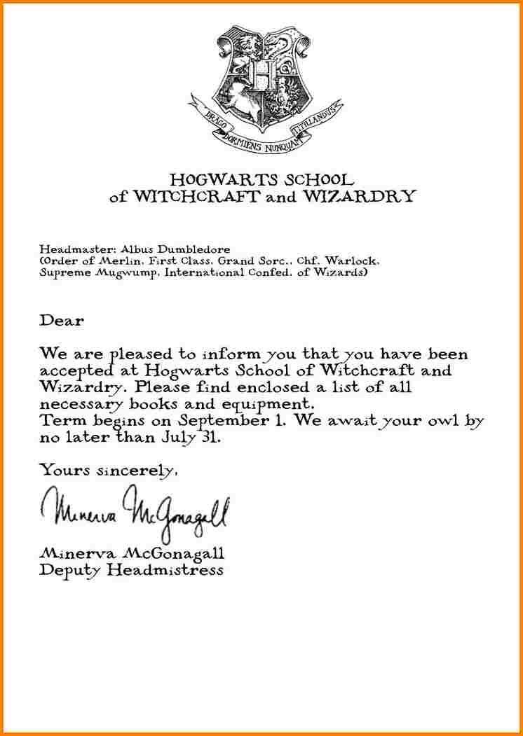 8+ hogwarts acceptance letter quote templates Monkey Birthdays