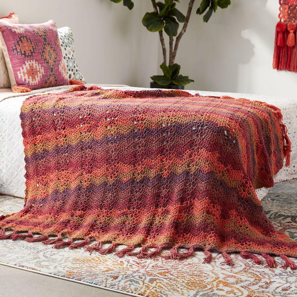 Caron 174 Big Cakes Ocean Waves Crochet Blanket In Cranberry