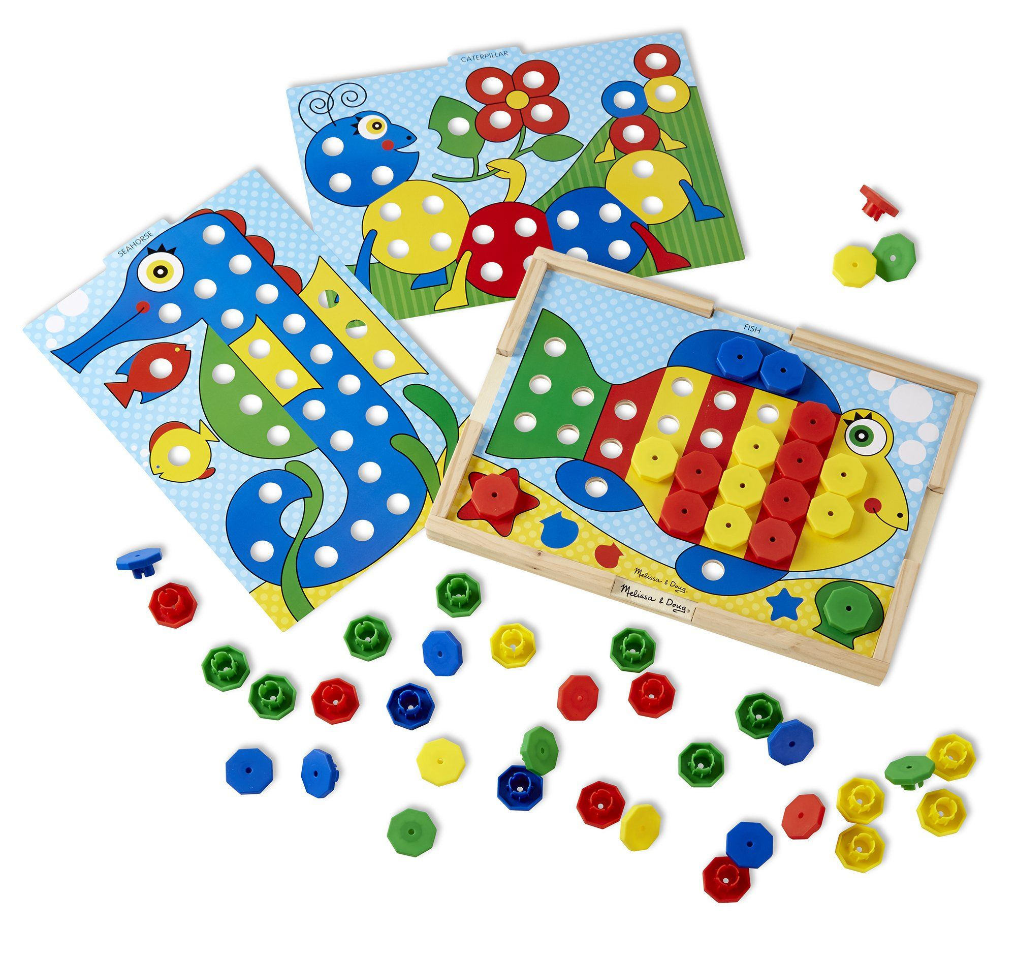Melissa & Doug Sort and Snap Color Match - Sorting and Patterns Educational Toy. Create colorful pictures using the included boards and snap caps. Includes 10 double-sided picture cards and 64 snap caps. Sturdy wooden frame. Terrific value. Great for color recognition, sorting, and beginning math skills.