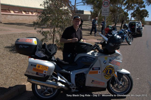 Day 5 Glendambo 255kms to Coober Pedy. Steve Andrews at Woomera. #blackdogride
