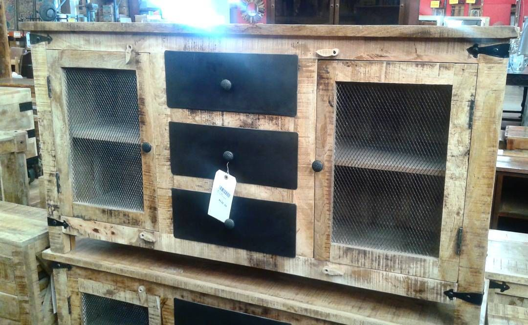 Mango wood side board with wire mesh on the cabinet doors ...